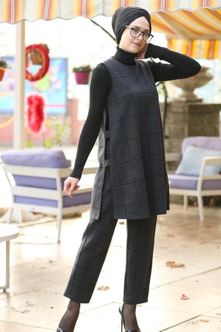 İnşirah Antrasit Gri Tunik & Pantolon İkili Takım