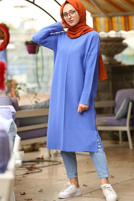 İnşirah Mavi Triko Tunik