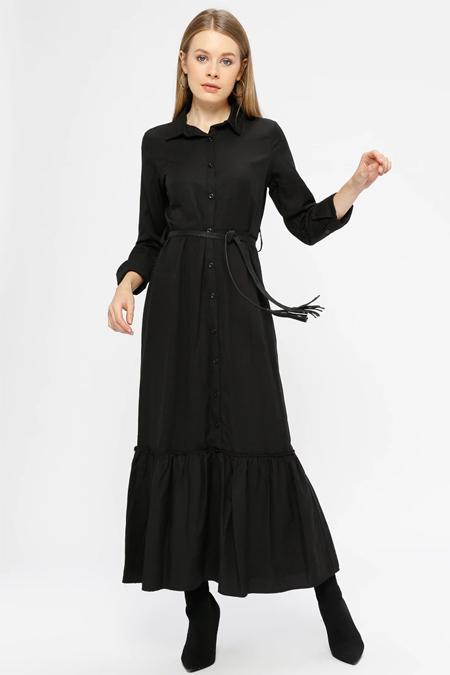 Kaktüs Siyah Eteği Büzgülü Gömlek Elbise