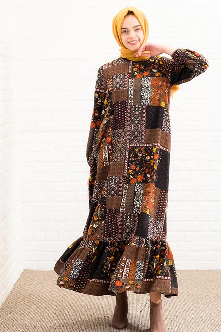 Lysa Studio Haki Desenli Elbise