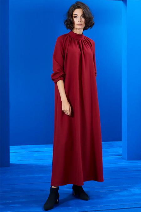 Mevra Kırmızı Büzgülü Elbise