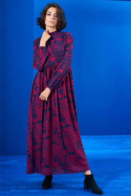 Mevra Lacivert Vişne Beli Büzgülü Elbise