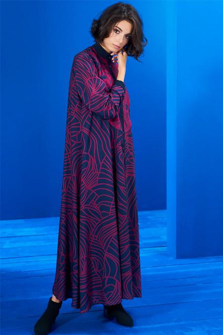 Mevra Lacivert Vişne Biyeli İki Desen Elbise