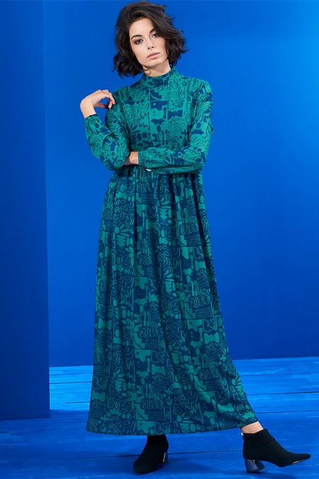 Mevra Lacivert Yeşil Beli Büzgülü Elbise