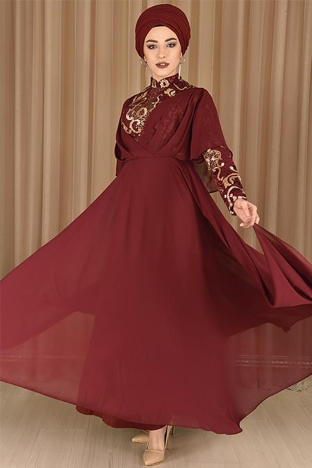 Bordo Pelerin Görünümlü Şifon Abiye Elbise