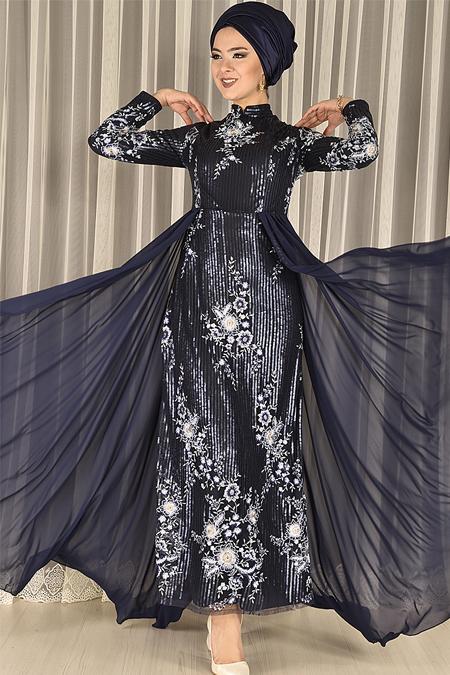 Lacivert Pul Payet Dantelli Balık Model Abiye Elbise