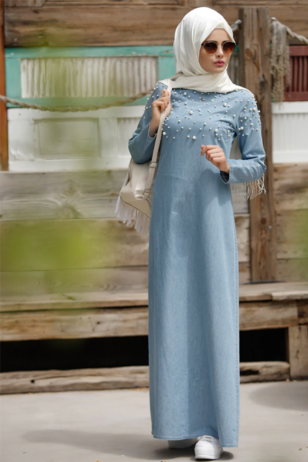 Piennar Açık Mavi İncili Tensel Kot Elbise