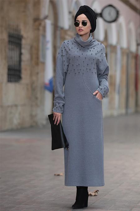 5dcc0f01b06b7 Tesettür Triko Elbise, İndirimli Satın Al, Online Alışveriş, Sipariş ...