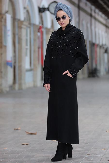 Piennar Siyah Kumsal Triko Tunik Elbise