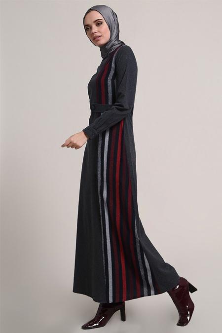 Refka Bordo Çizgili Elbise