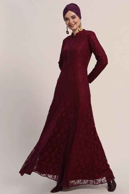 Refka Bordo Dantelli Abiye Elbise