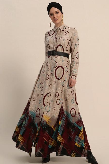 Refka Bordo Doğal Kumaşlı Desenli Elbise