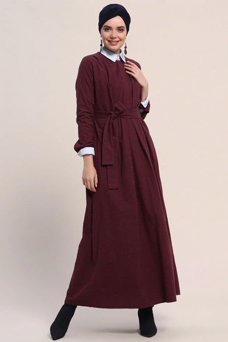 Refka Bordo Pile Detaylı Elbise