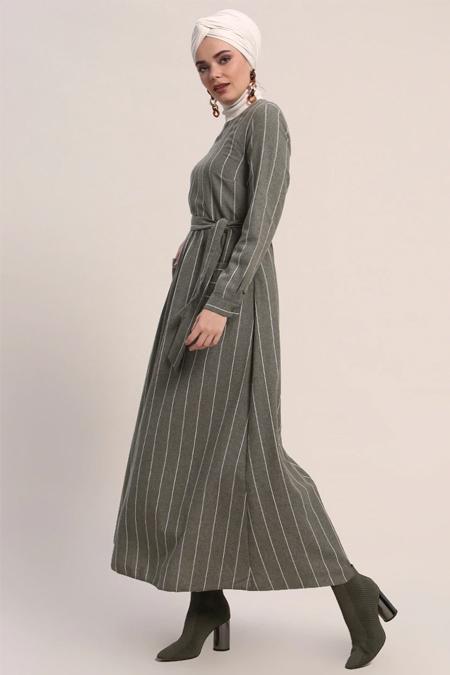 Refka Haki Doğal Kumaşlı Çizgili Elbise