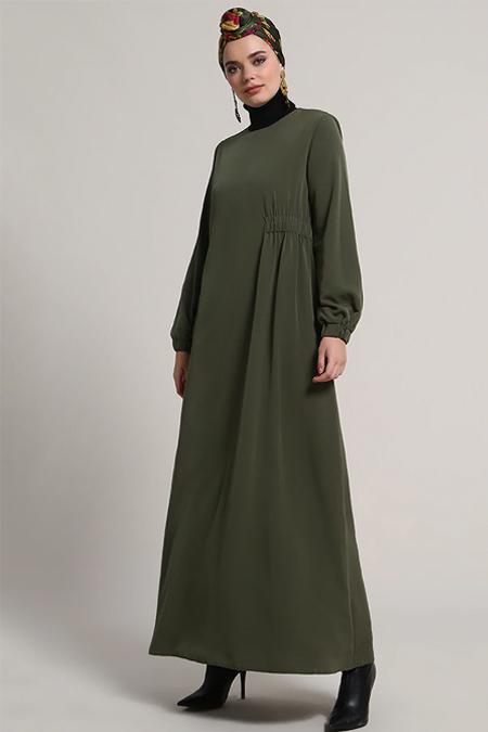 Refka Haki Kolları Lastikli Elbise