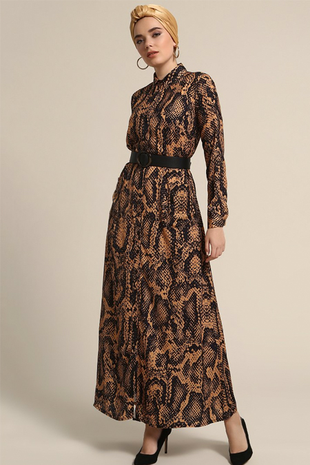 Refka Hardal Boydan Düğmeli Cep Detaylı Elbise