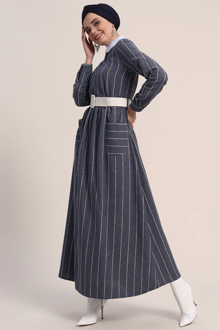 Refka Lacivert Doğal Kumaşlı Çizgili Elbise