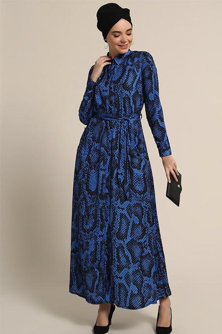 Refka Saks Boydan Düğmeli Cep Detaylı Elbise