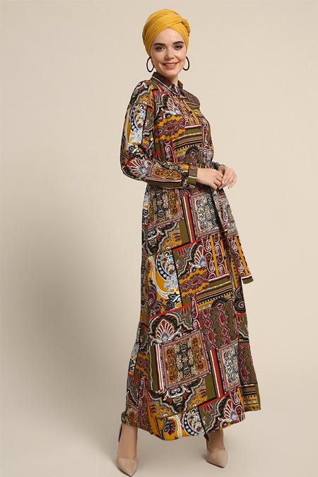 Refka Sarı Haki Boydan Düğmeli Desenli Elbise