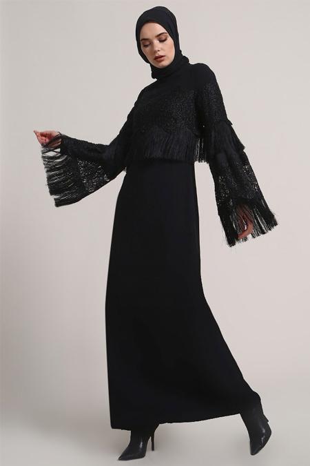 Refka Siyah Dantel Detaylı Abiye Elbise