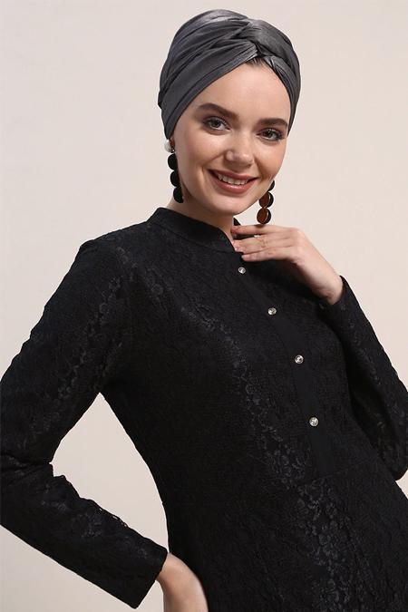 Refka Siyah Dantelli Abiye Elbise
