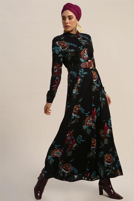 Refka Siyah Doğal Kumaşlı Çiçek Desenli Elbise