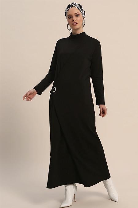 Refka Siyah Kuş Gözü Detaylı Elbise