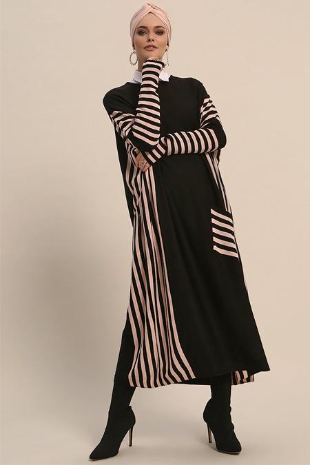 Refka Siyah Pudra Çizgili Triko Elbise