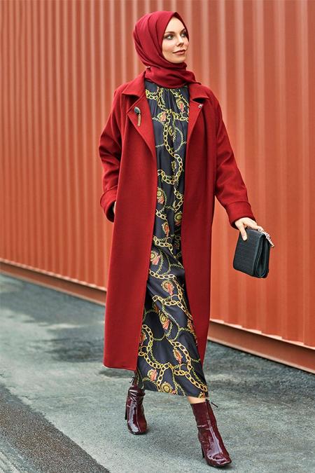 Refka Siyah Zincir Desenli Elbise