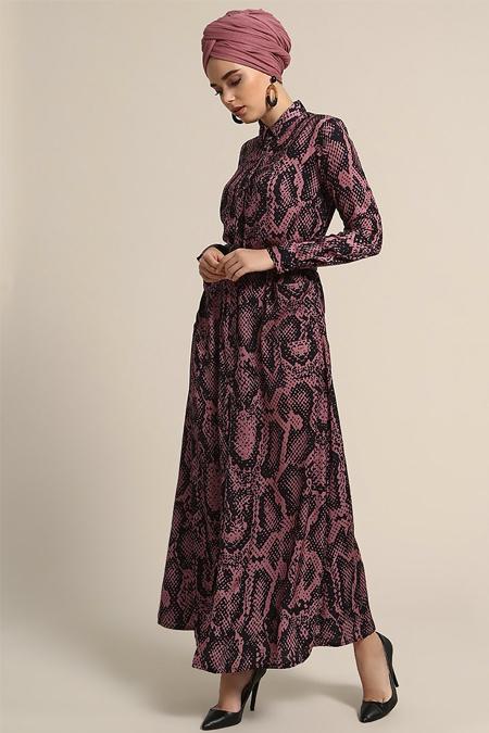 Refka Somon Boydan Düğmeli Cep Detaylı Elbise