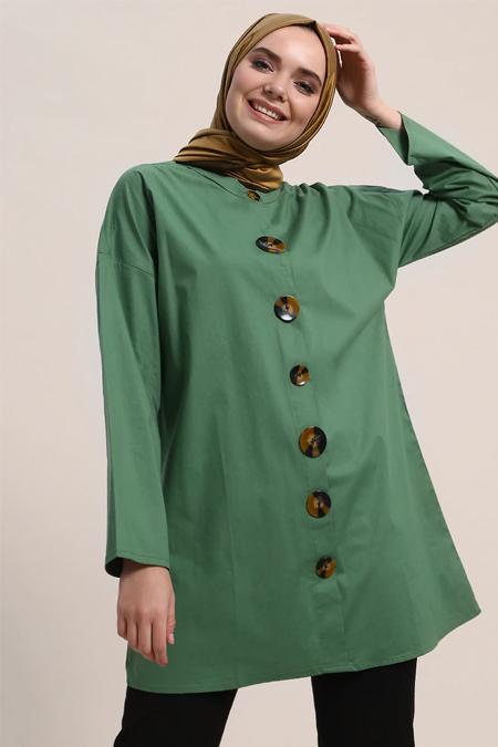 Refka Yeşil Doğal Kumaşlı Düğme Detaylı Tunik