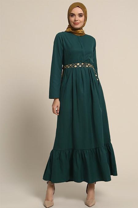 Refka Yeşil Gizli Düğme Detaylı Pileli Elbise