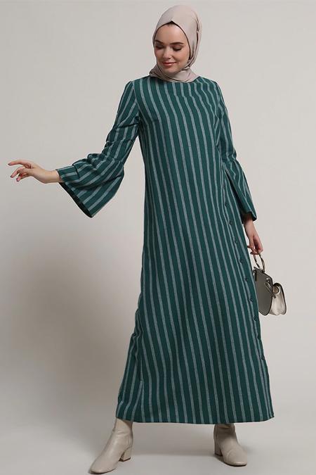 Refka Zümrüt Çizgili Elbise