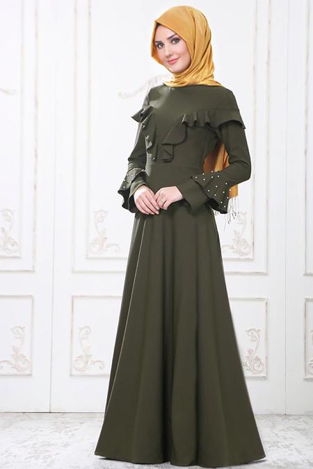 SomFashion Haki Yeşil Ceyda Elbise