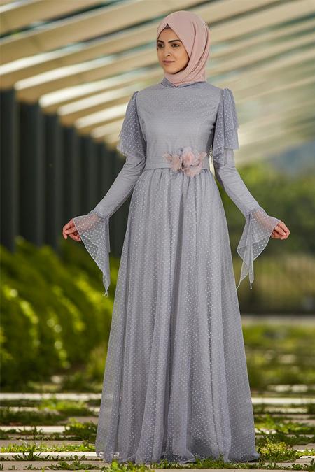 SomFashion Mavi Puantiye Abiye Elbise