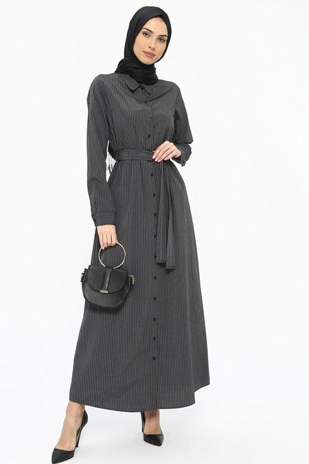 Tavin Antrasit Doğal Kumaşlı Boydan Düğmeli Elbise