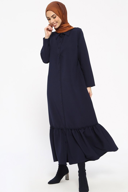 Tavin Lacivert Boydan Düğmeli Elbise