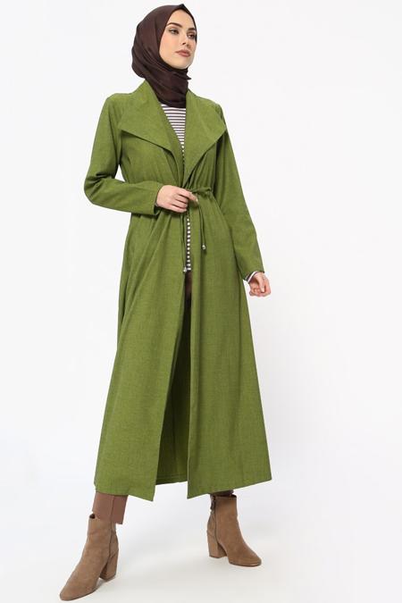 Tavin Yeşil Beli Bağcıklı Pardesü