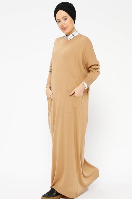 Zentoni Camel Salaş Triko Elbise