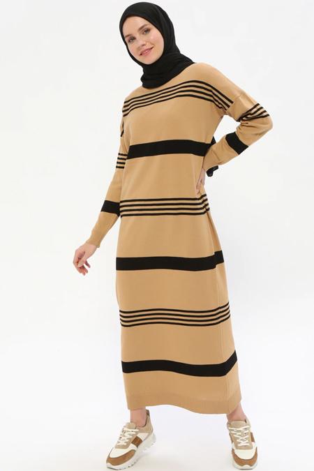 Zentoni Camel Siyah Triko Elbise
