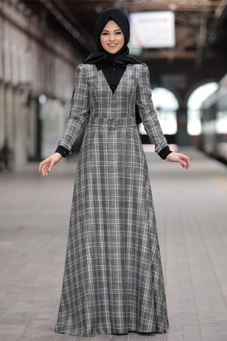 Al-Marah Siyah Ekose Elbise
