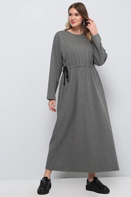 Alia Antrasit Beli Bağlamalı Elbise