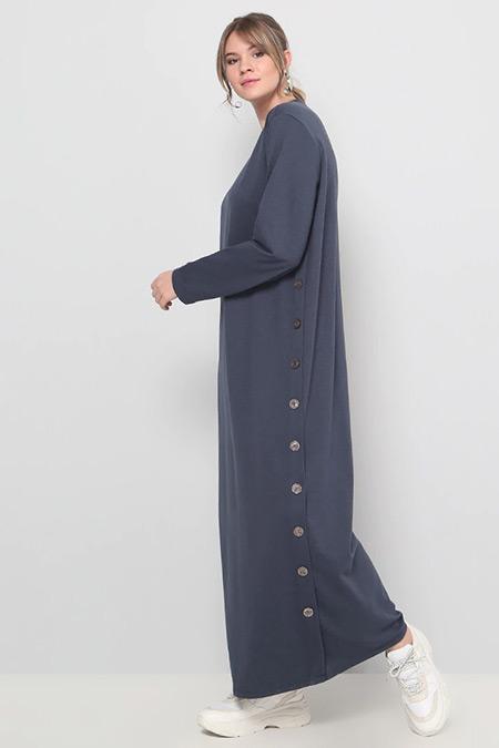 Alia Antrasit Düğme Detaylı Elbise