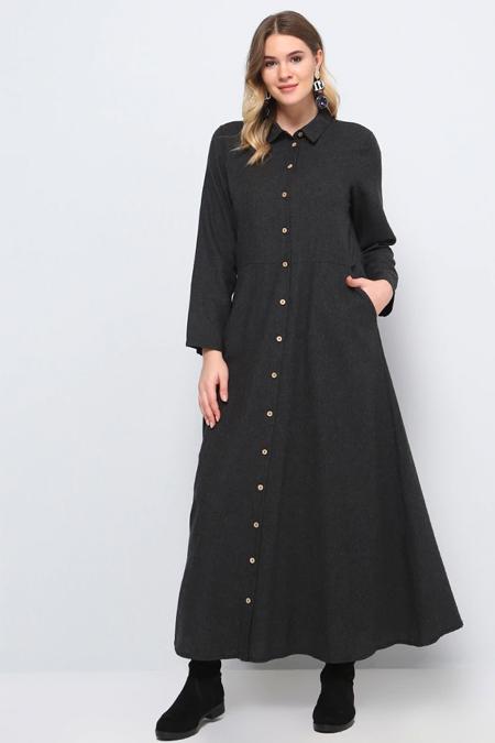 Alia Antrasit Doğal Kumaşlı Boydan Düğmeli Elbise
