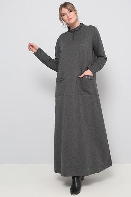 Alia Antrasit Kuşgözü Detaylı Elbise