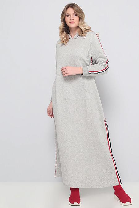 Alia Gri Doğal Kumaşlı Kapüşonlu Spor Elbise