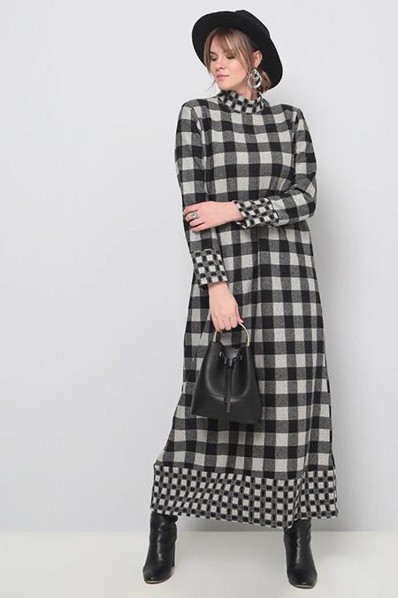 Alia Gri Siyah Kareli Elbise