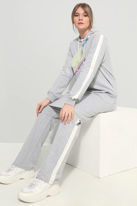 Alia Gri Spor Tunik&Pantolon İkili Takım