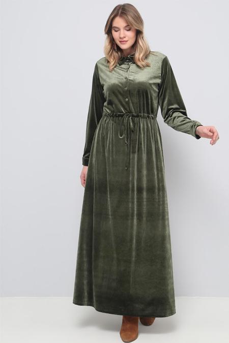 Alia Haki Beli Bağcıklı Kadife Elbise