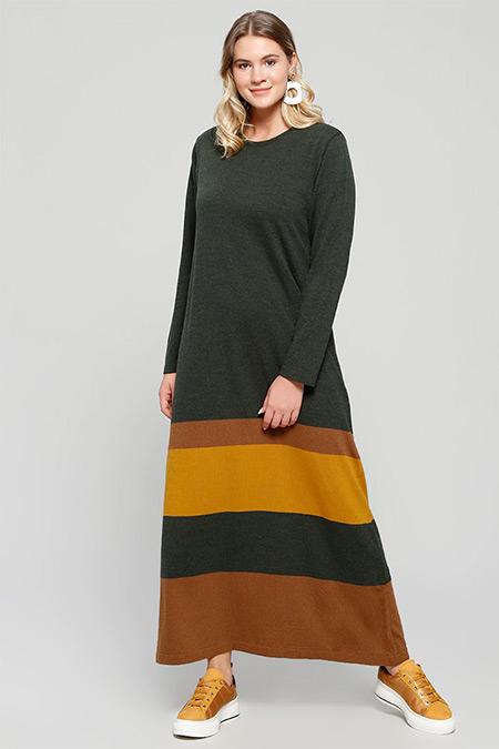 Alia Haki Kahve Triko Elbise